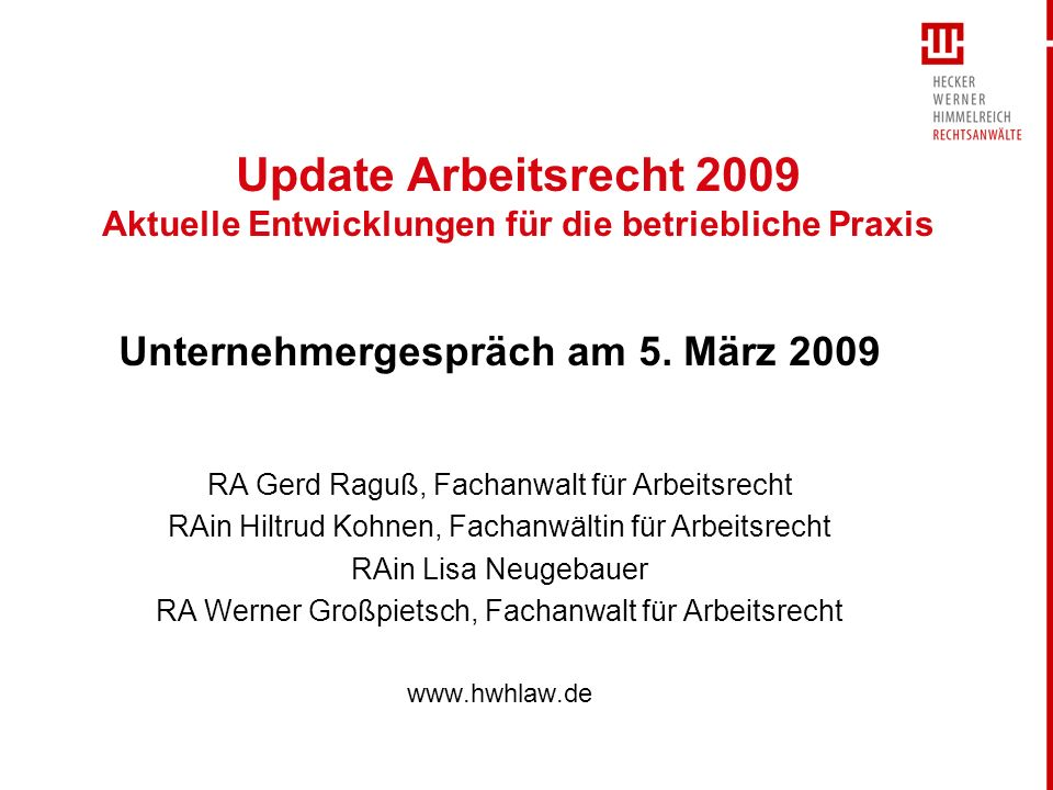 Unternehmergespräch am 5. März 2009