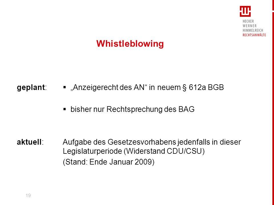 """Whistleblowing geplant:  """"Anzeigerecht des AN in neuem § 612a BGB"""