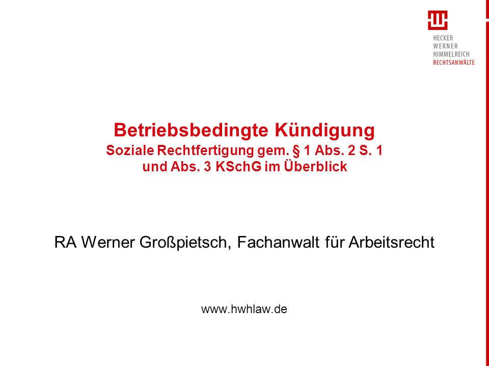 RA Werner Großpietsch, Fachanwalt für Arbeitsrecht www.hwhlaw.de
