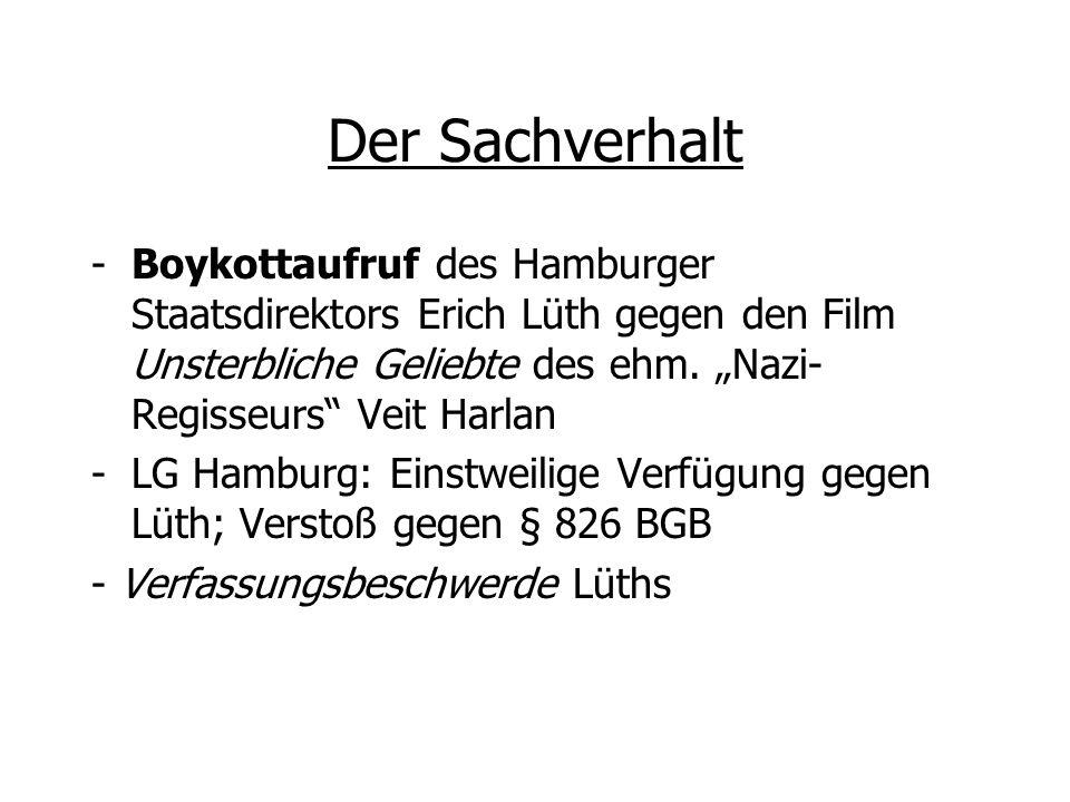 """Der Sachverhalt Boykottaufruf des Hamburger Staatsdirektors Erich Lüth gegen den Film Unsterbliche Geliebte des ehm. """"Nazi-Regisseurs Veit Harlan."""