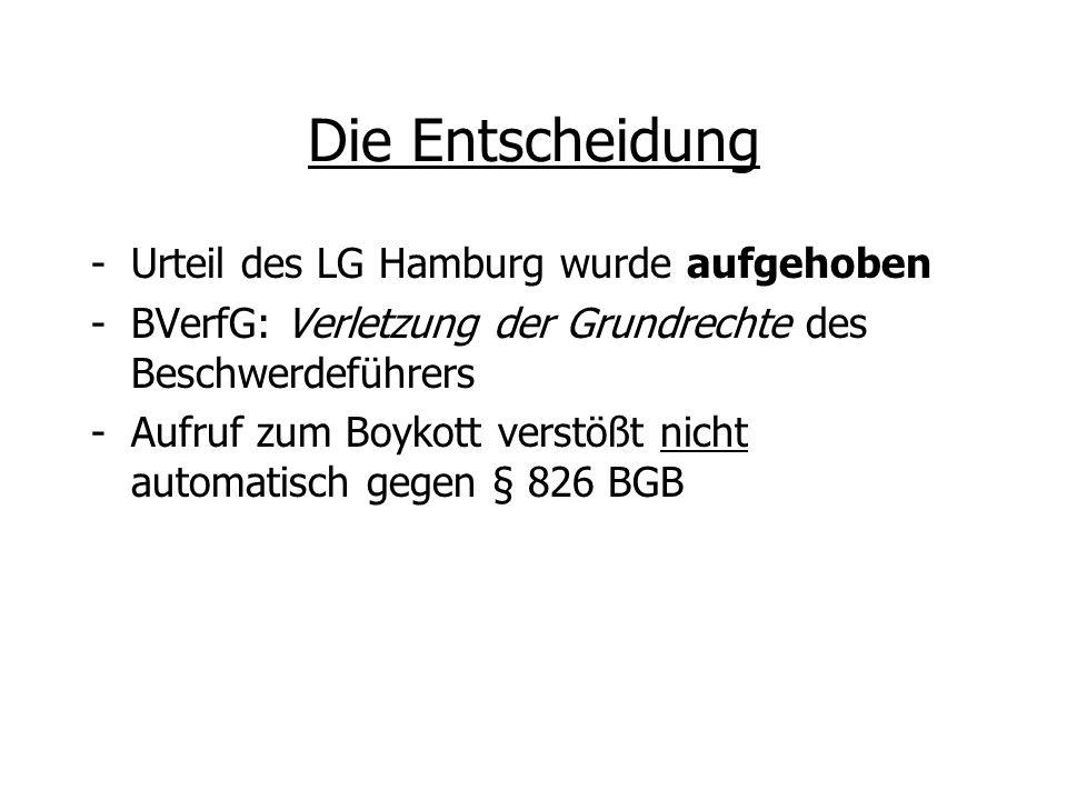 Die Entscheidung Urteil des LG Hamburg wurde aufgehoben