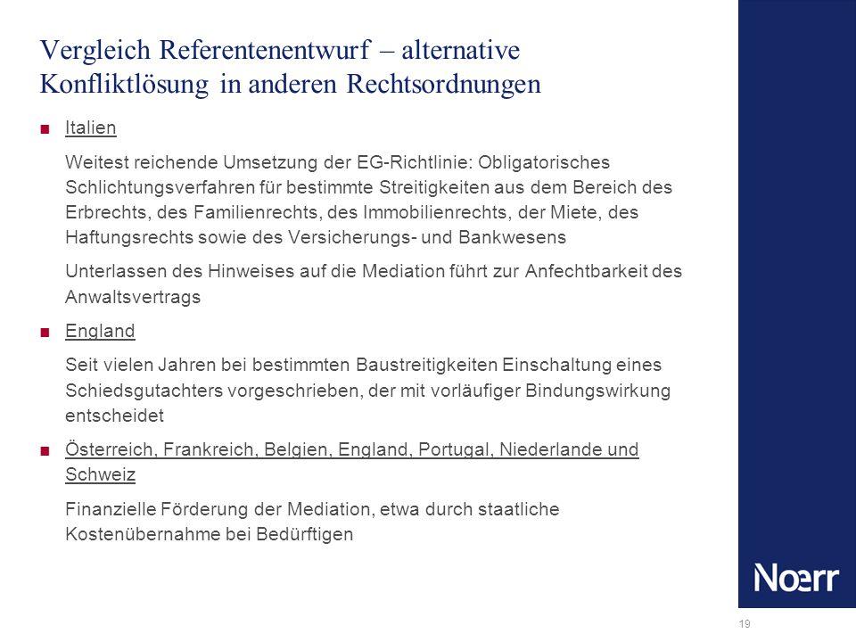 Vergleich Referentenentwurf – alternative Konfliktlösung in anderen Rechtsordnungen