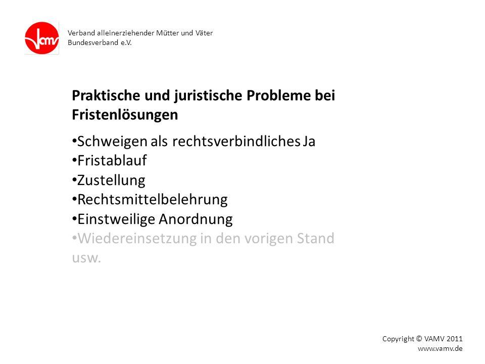 Praktische und juristische Probleme bei Fristenlösungen