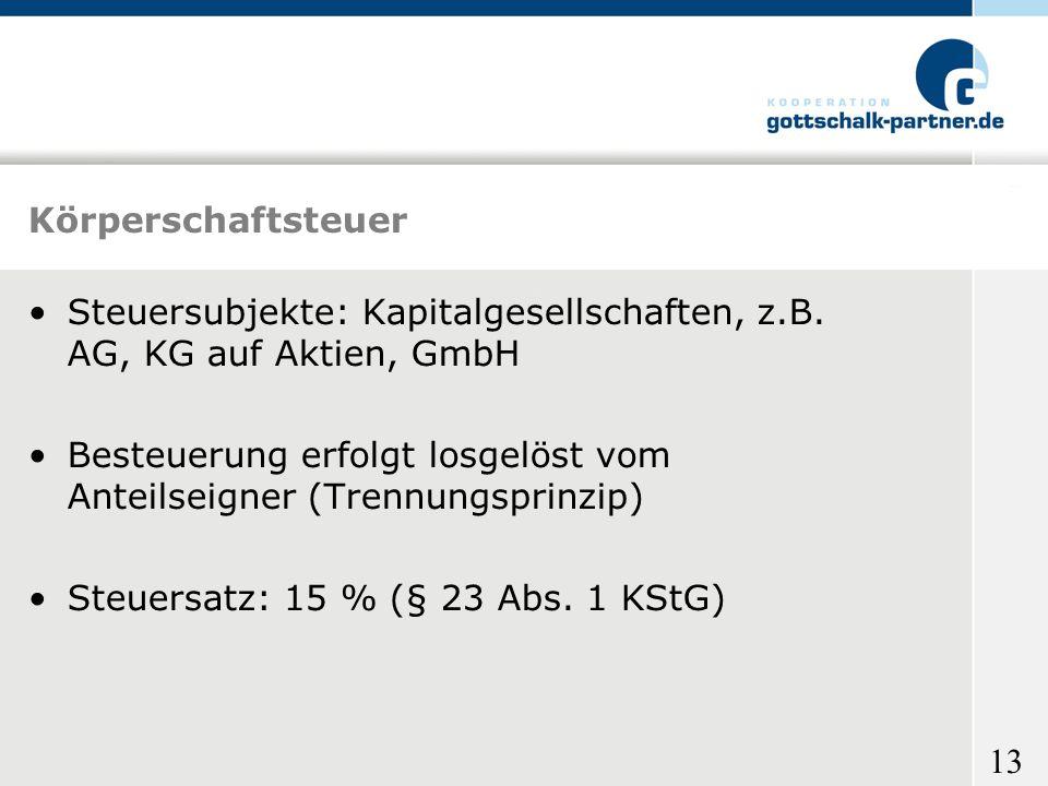 Körperschaftsteuer Steuersubjekte: Kapitalgesellschaften, z.B. AG, KG auf Aktien, GmbH.