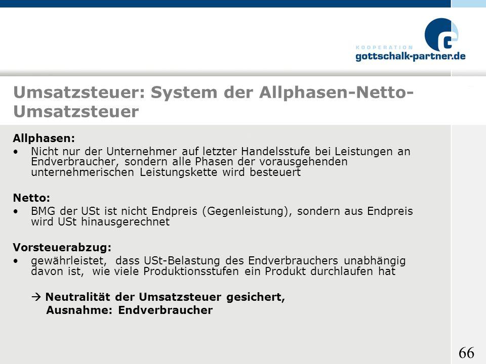 Umsatzsteuer: System der Allphasen-Netto-Umsatzsteuer