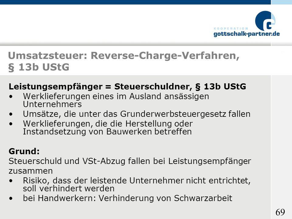 Umsatzsteuer: Reverse-Charge-Verfahren, § 13b UStG