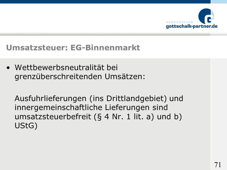 Umsatzsteuer: EG-Binnenmarkt