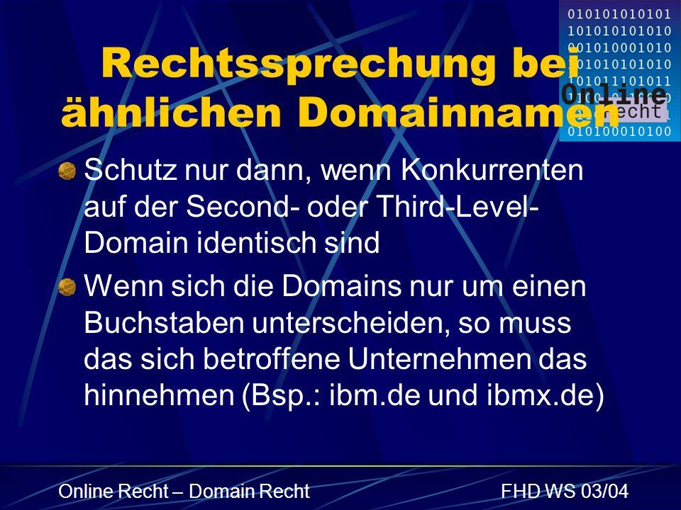Rechtssprechung bei ähnlichen Domainnamen