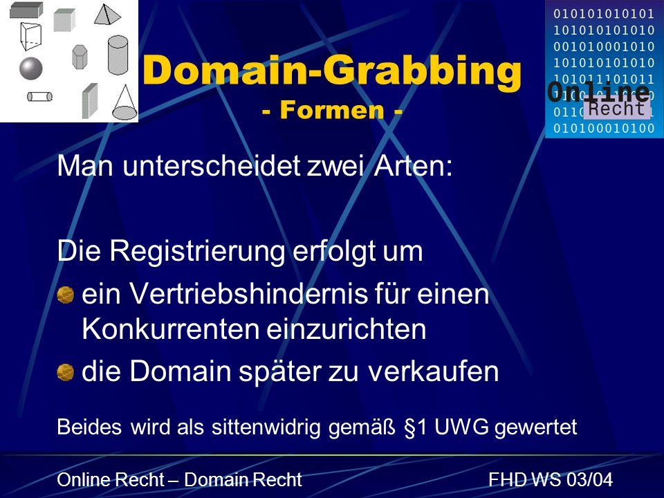 Domain-Grabbing - Formen -