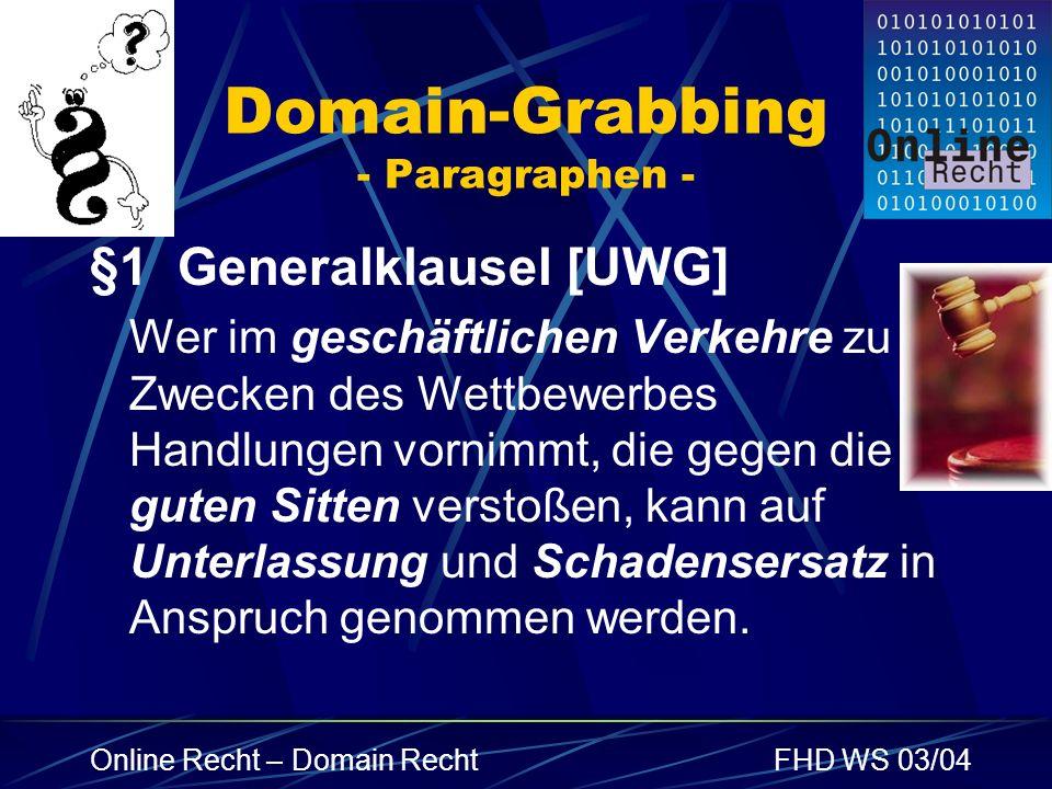 Domain-Grabbing - Paragraphen -
