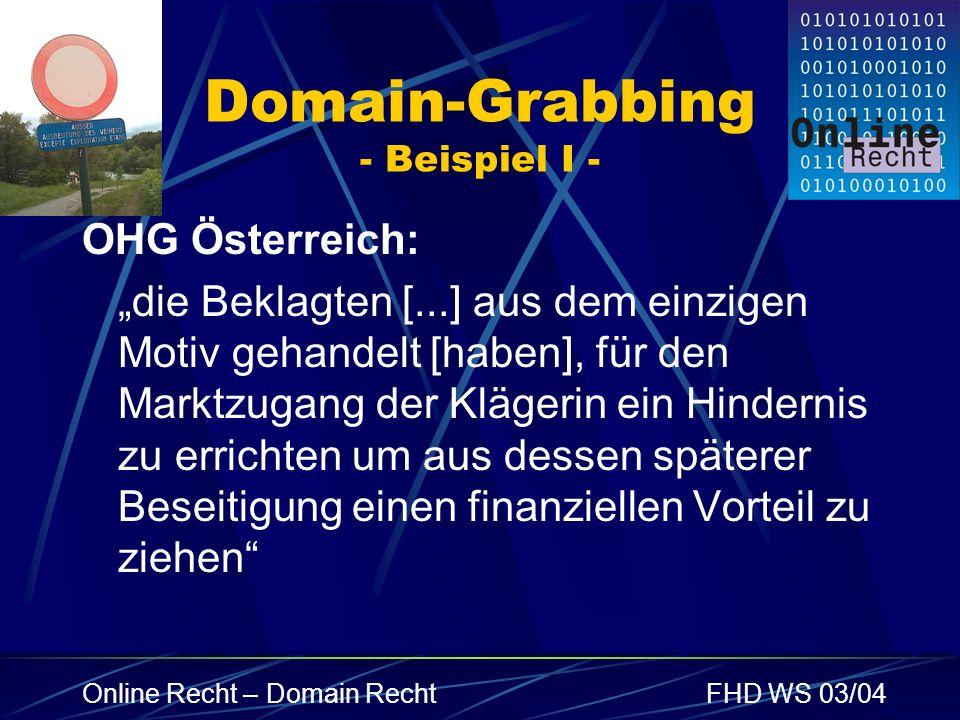 Domain-Grabbing - Beispiel I -