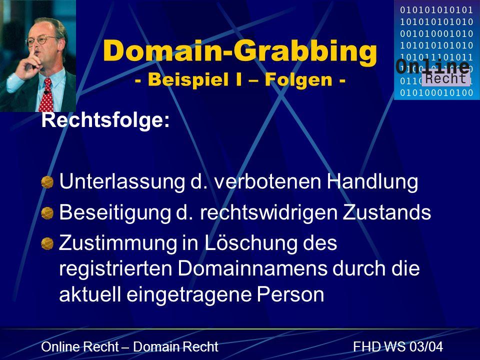 Domain-Grabbing - Beispiel I – Folgen -