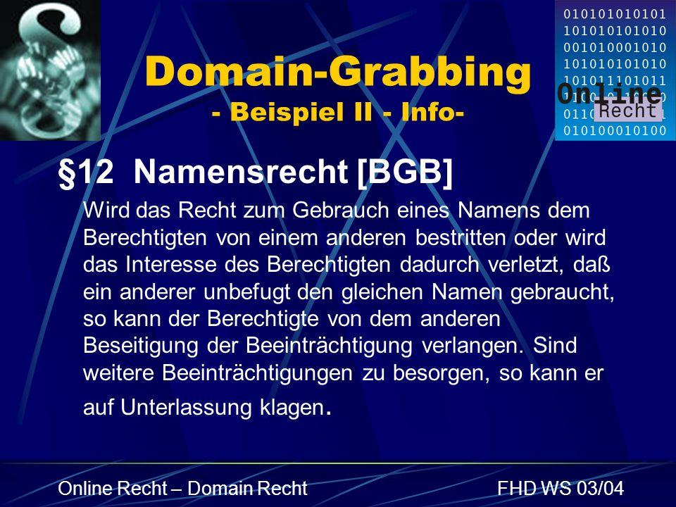 Domain-Grabbing - Beispiel II - Info-