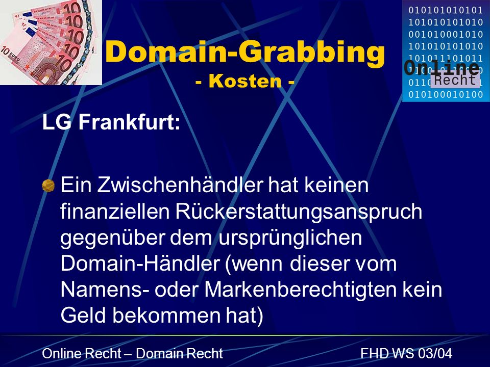 Domain-Grabbing - Kosten -