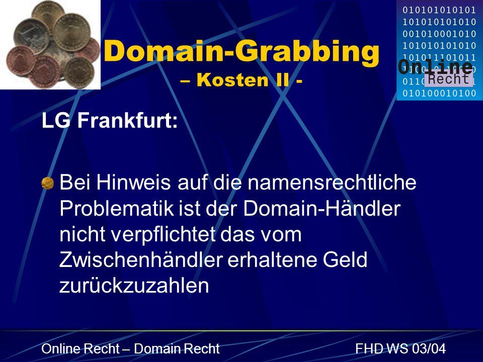 Domain-Grabbing – Kosten II -