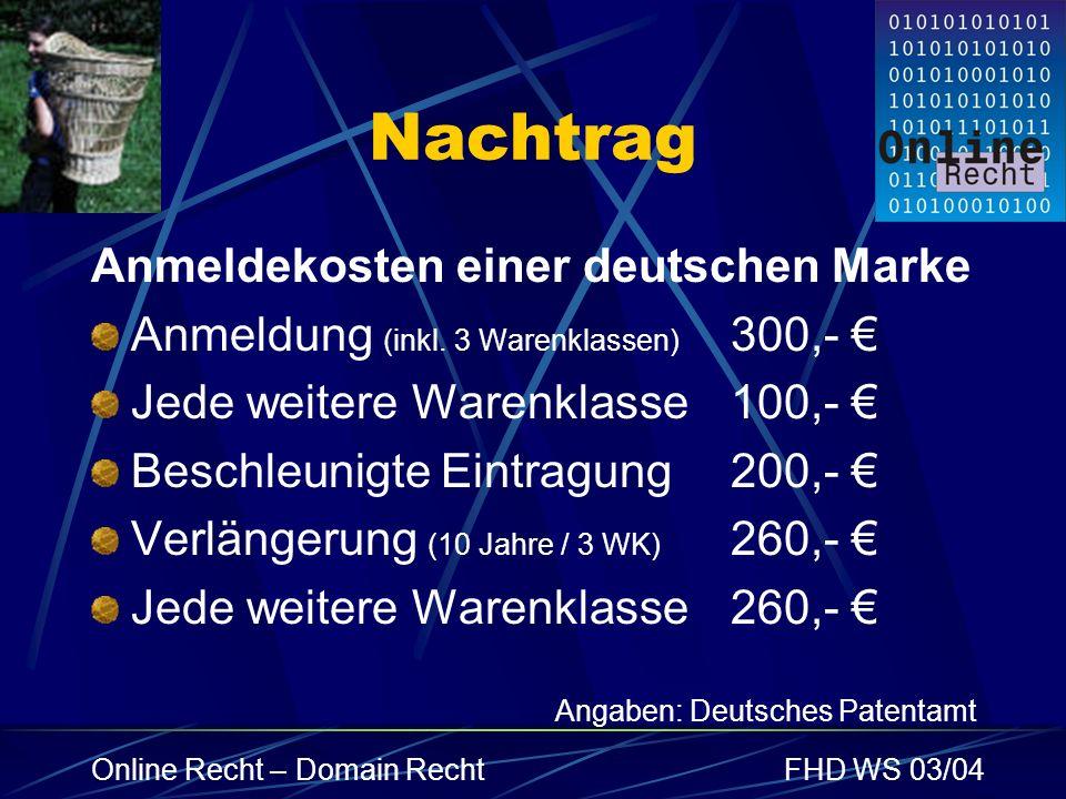 Nachtrag Anmeldekosten einer deutschen Marke