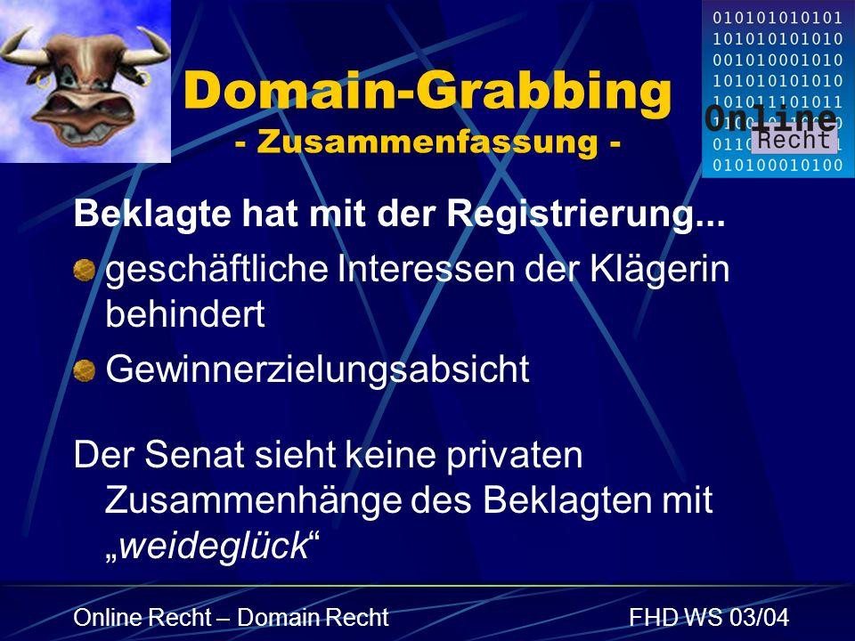 Domain-Grabbing - Zusammenfassung -