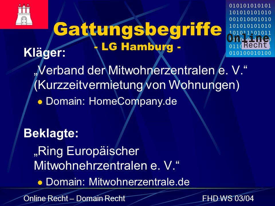 Gattungsbegriffe - LG Hamburg -