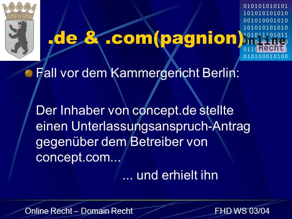 .de & .com(pagnion) Fall vor dem Kammergericht Berlin: