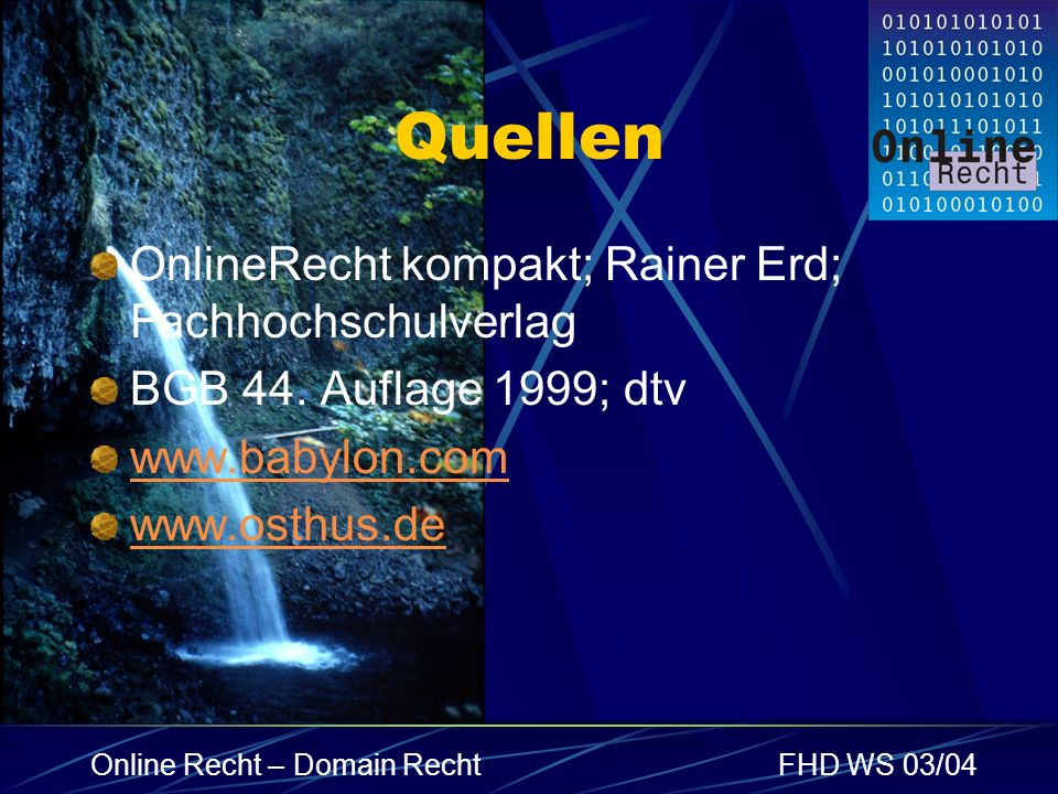 Quellen OnlineRecht kompakt; Rainer Erd; Fachhochschulverlag