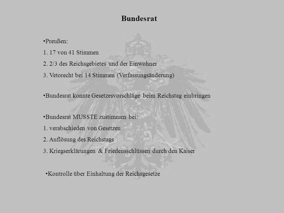 Bundesrat Preußen: 17 von 41 Stimmen