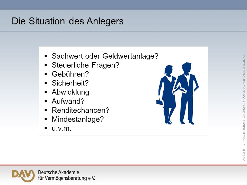 Die Situation des Anlegers