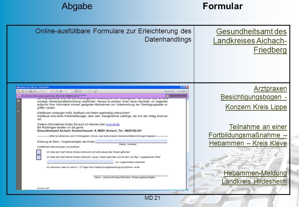Abgabe Formular Gesundheitsamt des Landkreises Aichach-Friedberg