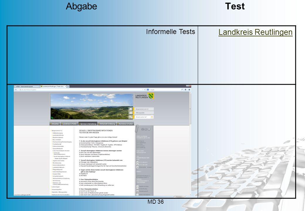 Abgabe Test Informelle Tests Landkreis Reutlingen
