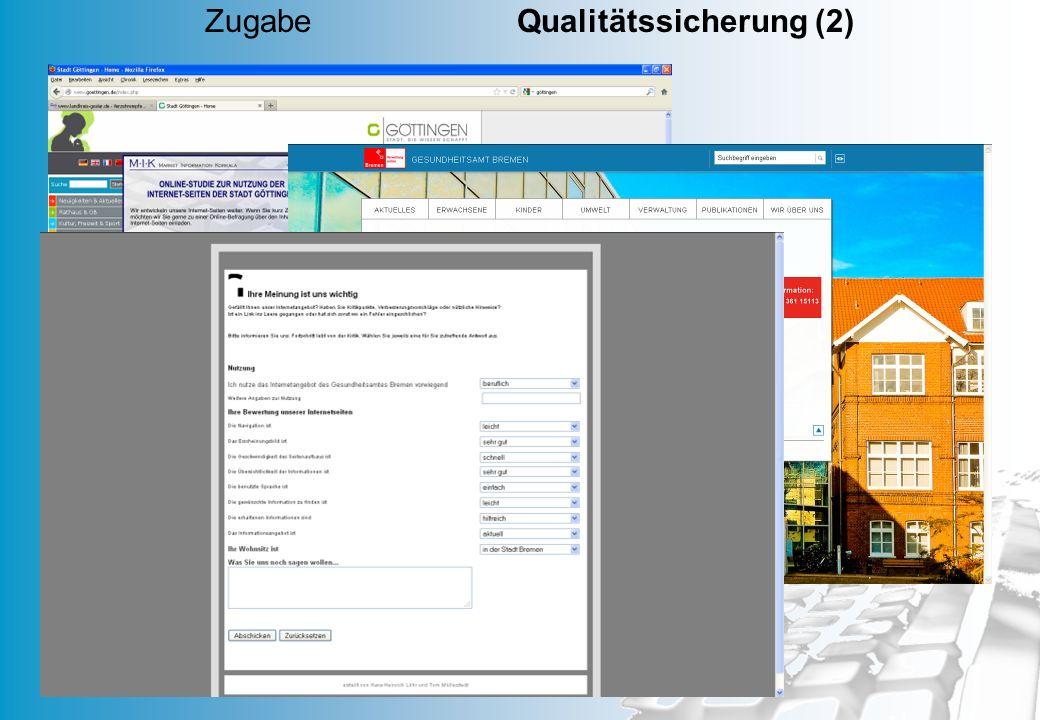 Zugabe Qualitätssicherung (2)