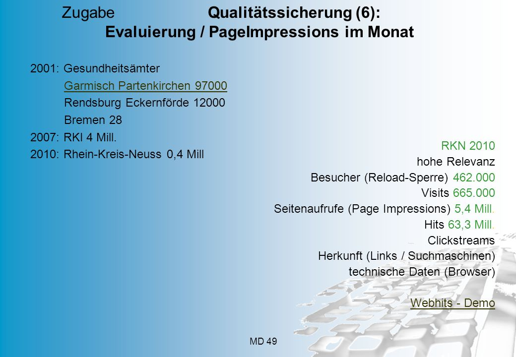 Zugabe Qualitätssicherung (6): Evaluierung / PageImpressions im Monat