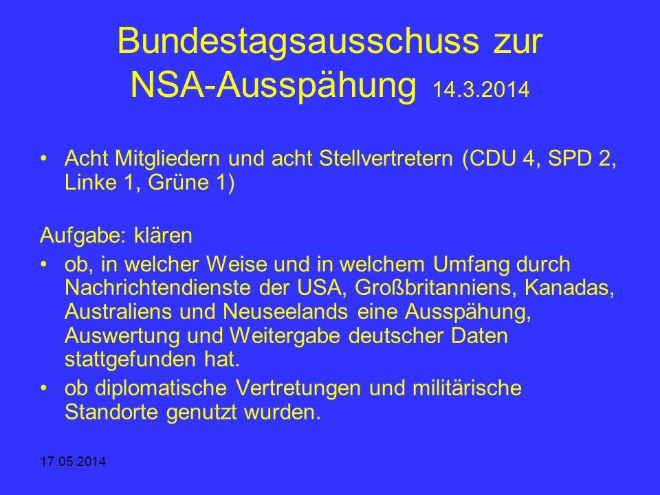 Bundestagsausschuss zur NSA-Ausspähung 14.3.2014