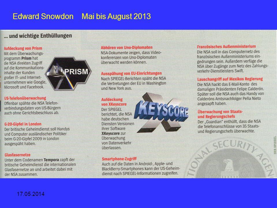 Edward Snowdon Mai bis August 2013