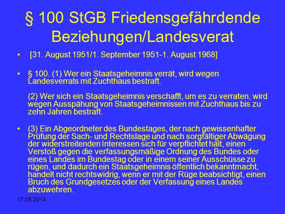 § 100 StGB Friedensgefährdende Beziehungen/Landesverat