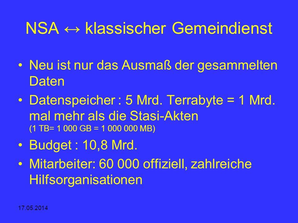 NSA ↔ klassischer Gemeindienst