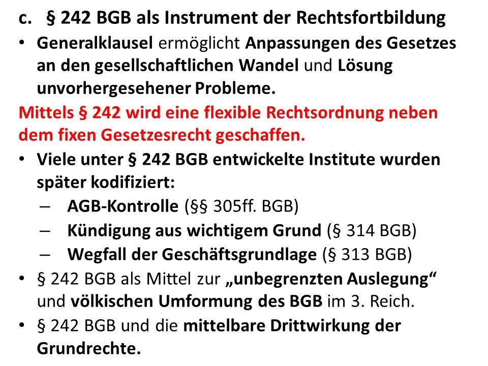 § 242 BGB als Instrument der Rechtsfortbildung