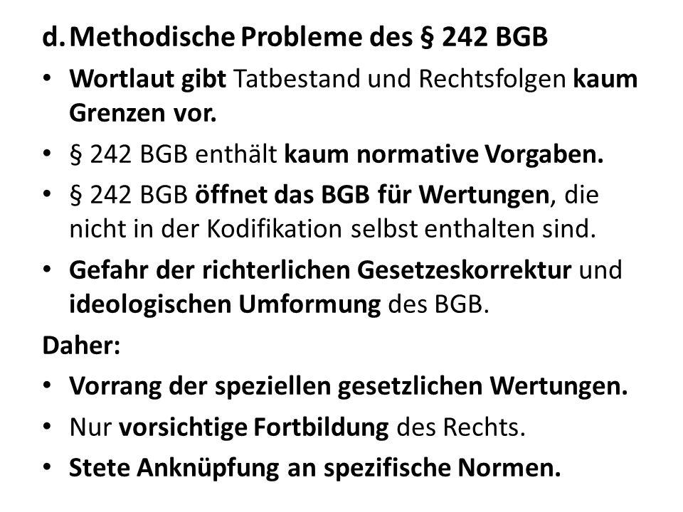 Methodische Probleme des § 242 BGB