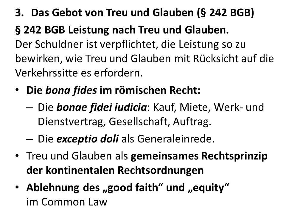 Das Gebot von Treu und Glauben (§ 242 BGB)