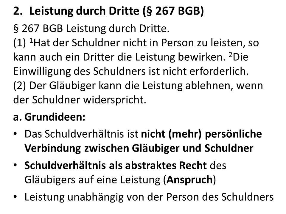 Leistung durch Dritte (§ 267 BGB)