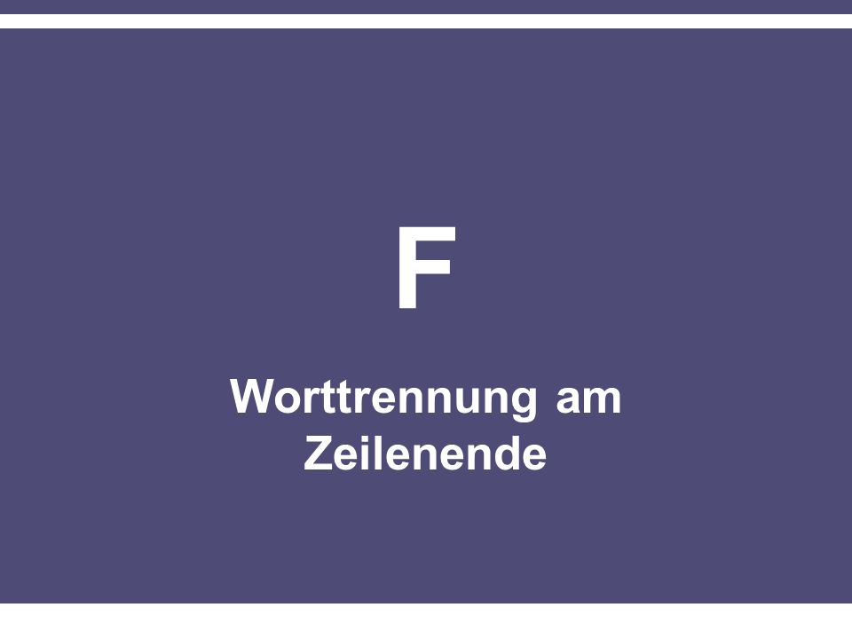 Worttrennung am Zeilenende