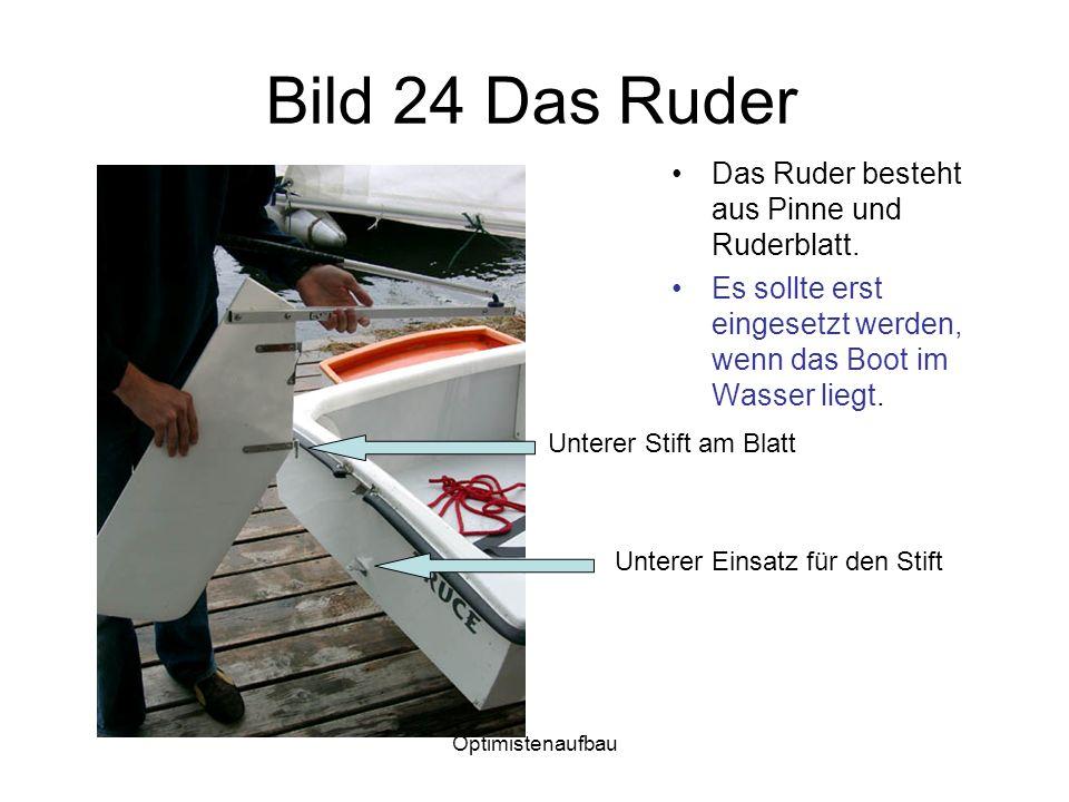 Bild 24 Das Ruder Das Ruder besteht aus Pinne und Ruderblatt.