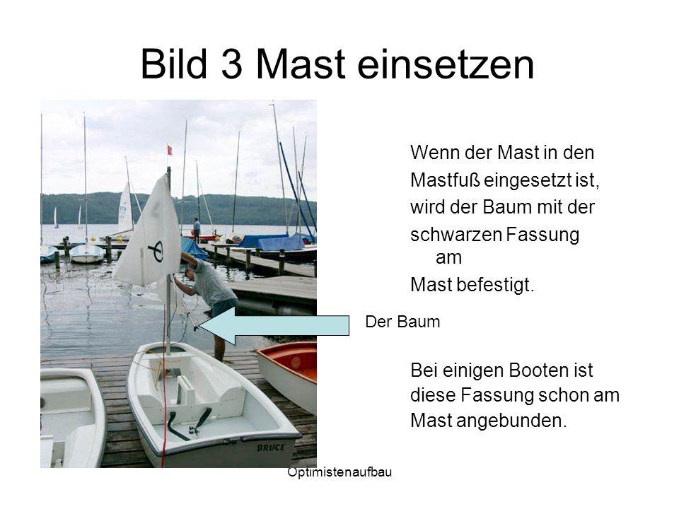 Bild 3 Mast einsetzen Wenn der Mast in den Mastfuß eingesetzt ist,