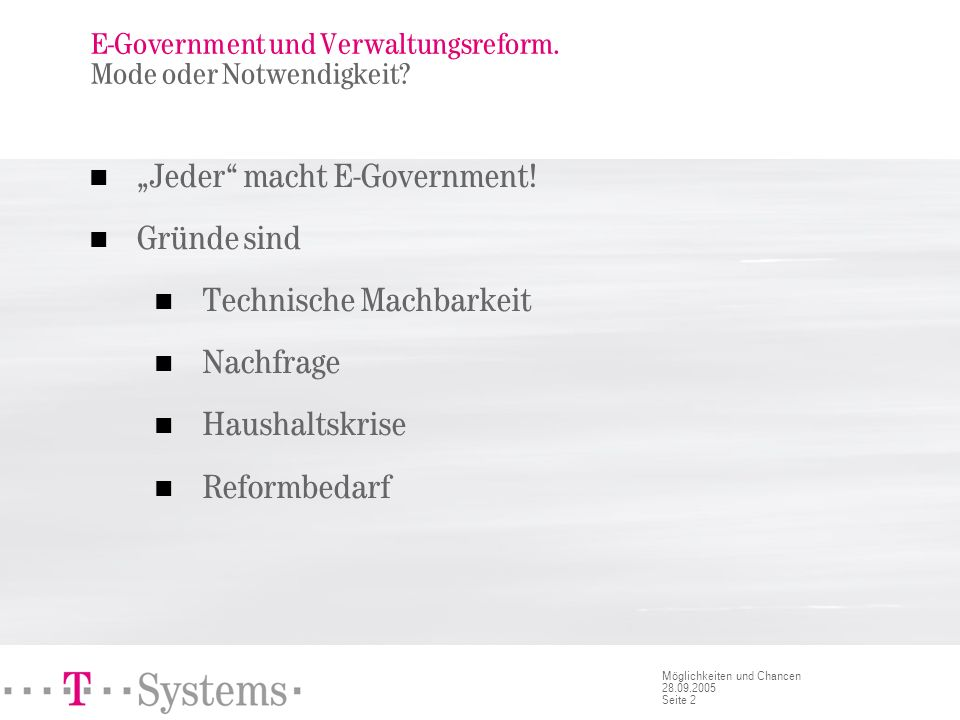 E-Government und Verwaltungsreform. Angebot und Nachfrage.