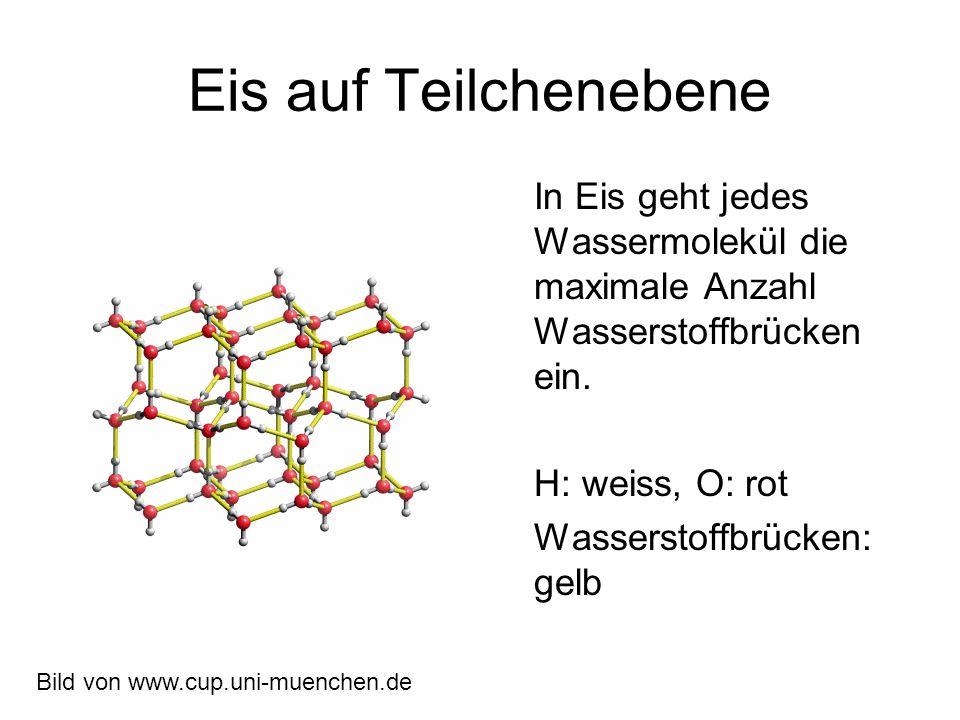 Eis auf Teilchenebene In Eis geht jedes Wassermolekül die maximale Anzahl Wasserstoffbrücken ein. H: weiss, O: rot.
