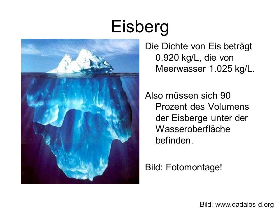Eisberg Die Dichte von Eis beträgt 0.920 kg/L, die von Meerwasser 1.025 kg/L.