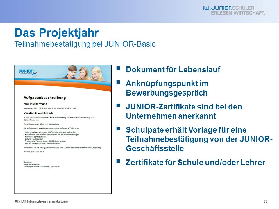 Das Projektjahr Teilnahmebestätigung bei JUNIOR-Basic