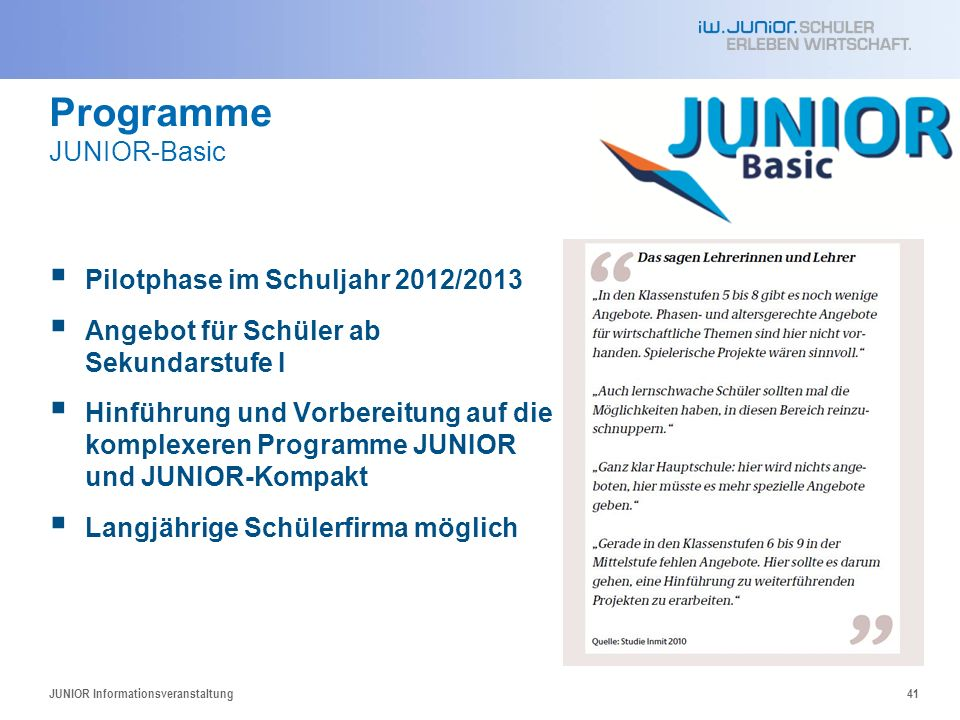 Programme JUNIOR-Basic