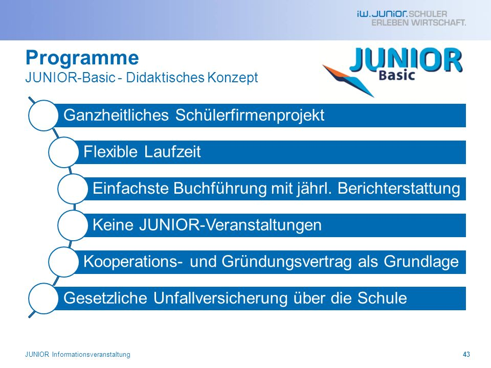 Programme JUNIOR-Basic - Didaktisches Konzept
