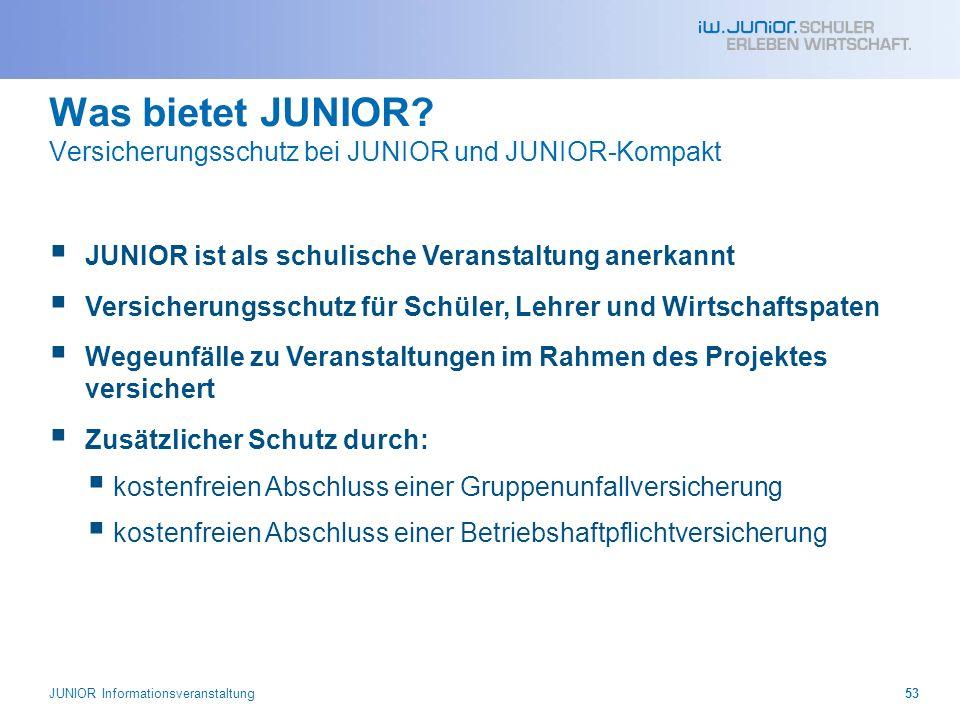 Was bietet JUNIOR Versicherungsschutz bei JUNIOR und JUNIOR-Kompakt