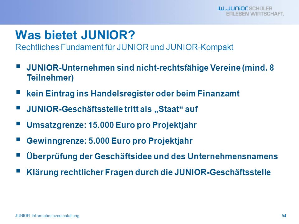 Was bietet JUNIOR Rechtliches Fundament für JUNIOR und JUNIOR-Kompakt
