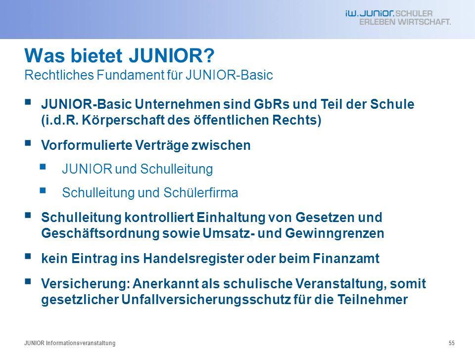 Was bietet JUNIOR Rechtliches Fundament für JUNIOR-Basic